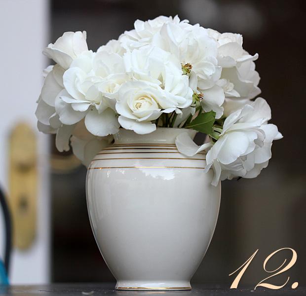 Twelve Iceberg roses for the vase