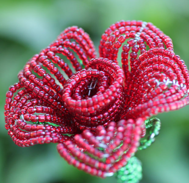 Hand-beaded roses